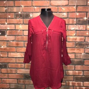 ❤️❤️Leshop Chiffon Red Blouse Gold Zipper